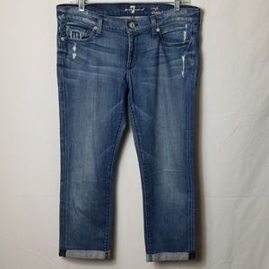7 For All Mankind Capris Distressed Jeans Sz 30